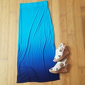 Blue Ombre' Maxi Skirt